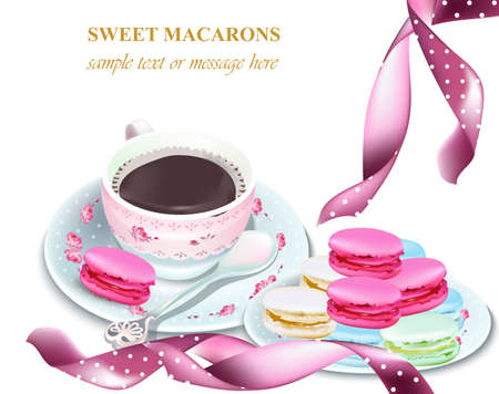 Chocolate and macaroons on a plate. Colorful dessert Vector realistic illustration