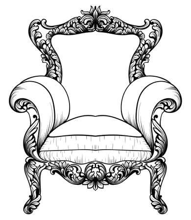 Baroque elegant chair icon.
