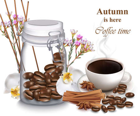 Coffee beans in a jar. Coffee cup and orchid flowers Vector realistic illustrations