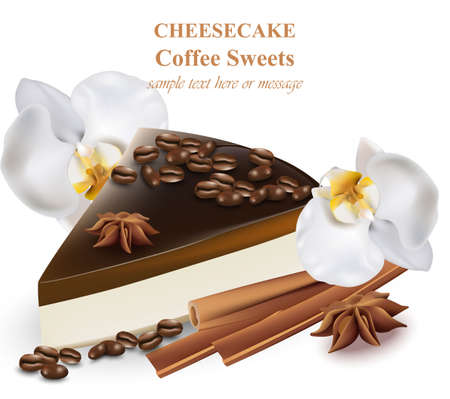 Slice of cheesecake coffee flavor. Coffee beans and orchid flowers decor Realistic Vector illustrations