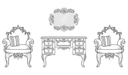 Armchair and dressing table with luxurious ornaments. Vector French Luxury rich intricate structure. Victorian Royal Style decors