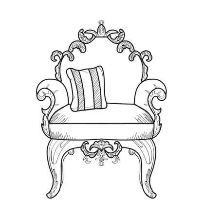 Fotel z luksusowymi ozdobami. Wektor francuski Luksusowa bogata skomplikowana struktura. Wiktoriański styl Royal Style