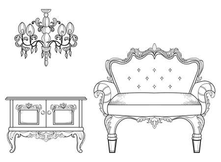 Armchair and table with luxurious ornaments.