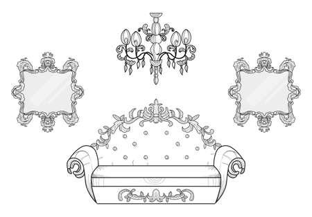 Armatures de fauteuil et de miroir avec des ornements luxueux. Vector French Luxury Structure complexe riche. Décors de style victorien Royal Banque d'images - 85577880