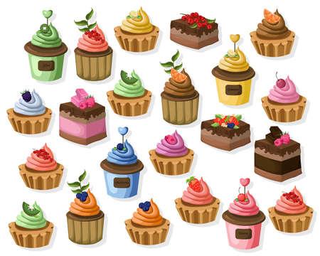 Big set of colorful desserts. Tartlet, cheesecake, mousse Vector illustrations Illustration