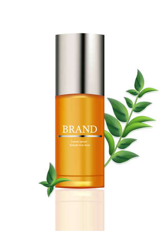 Lotion Cosmetics Vector realistic mock up. Orange package bottle with logo. Perfect for advertising, flyer, banner, poster. 3d illustration