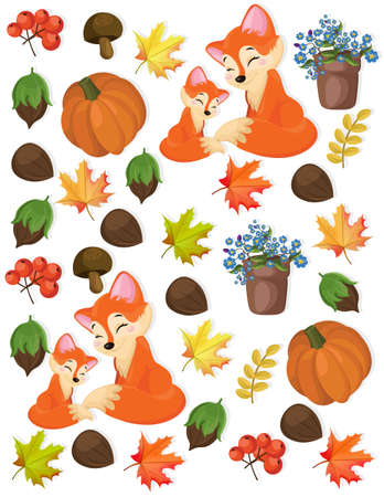 peasant: Autumn pattern fox, pumpkin and forrest nuts Vector illustration Stock Photo