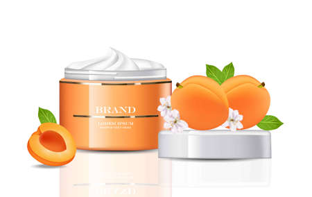 Peach Cream Cosmetics realistic mock up. Peach extract products Vector. Hydration cream with logo. Perfect for advertising, flyer, banner, poster. 3d illustrations. Illustration