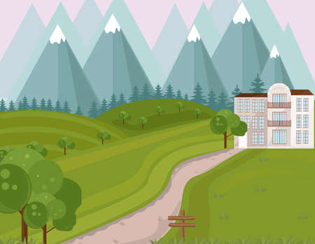 Hotel facade in the middle of the mountains Vector background