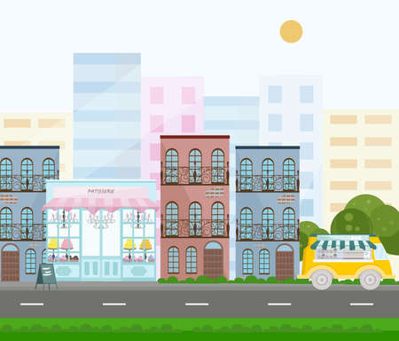 French style bakery Vector. Street view in a city. Vector backgrounds Stock Photo
