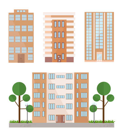 shop window: Buildings facades set Vector flat style Stock Photo