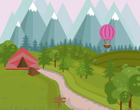 park: Camping tent in the mountains background. Vector green natures Stock Photo