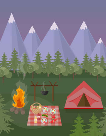 park: Picnic and camping tent mountains background. Vector green nature at nights