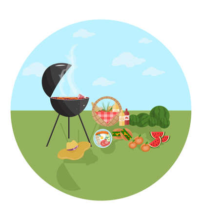 park: Barbecue picnic icon. Green nature Vector flat style