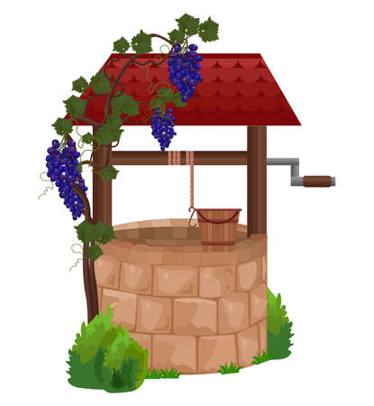 Stone water well illustrations. Grapes decor on the wooden roof