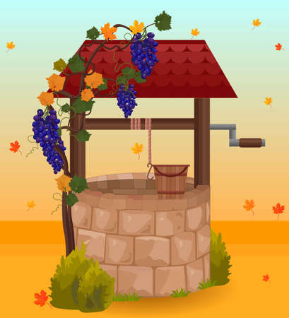 Stone water well autumn season Vector illustrations