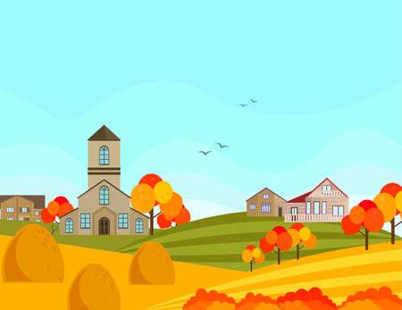 Farm village atumn season with hay background. Vector Illustration