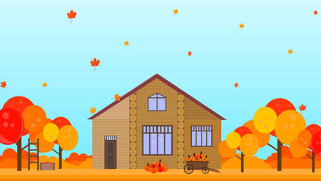 espantapajaros: Farm house in autumn season background Vector illustration