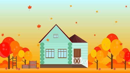 Village house in autumn season background Vector illustration