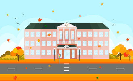 School building facade in autumn time. Vector illustrations Reklamní fotografie