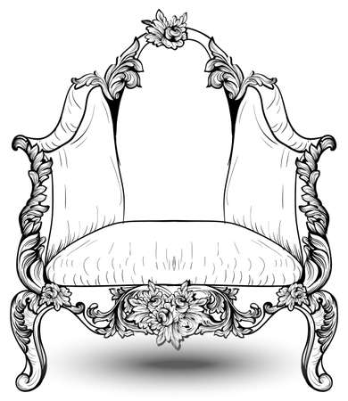Baroque armchair with luxurious ornaments