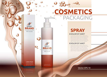 Vector Spray natural products realistic bottles. Mockup 3D illustration. Cosmetic package ads template. Splash Water effect backgrounds Illustration