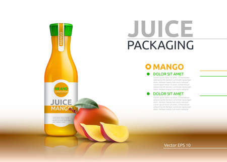 Mango juice packaging Realistic Vector mock up. Fruits juicy glass bottle advertise templates. 3d detailed elements