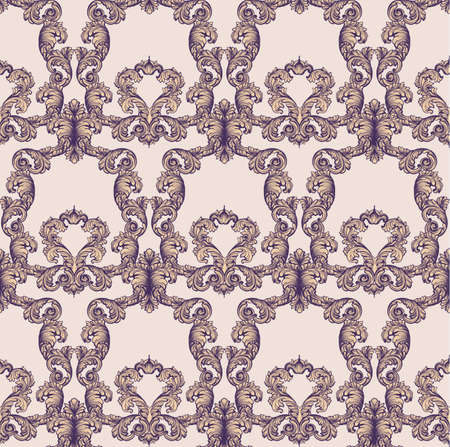 victorian wallpaper: Vintage Baroque rich seamless pattern background Vector illustrations