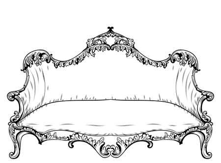 Sofá barroco con lujosos adornos. Francés intrincado estructura rica de lujo. Decoraciones estilo victoriano real Foto de archivo - 87354913