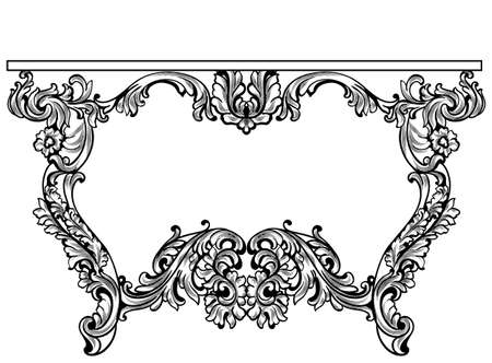 Imperial Baroque Console Table. French Luxury carved ornaments decorated table furniture. Vector Victorian Royal Styles Векторная Иллюстрация