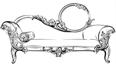 Sofa or bench with rich baroque ornaments elements Vector. Royal imperial Victorian style Illusztráció