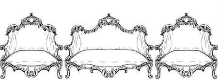 Vintage Baroque furniture. Illustration