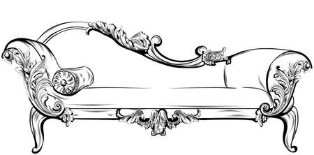 Sofa or bench with rich baroque ornaments elements Vector. Royal imperial Victorian styles