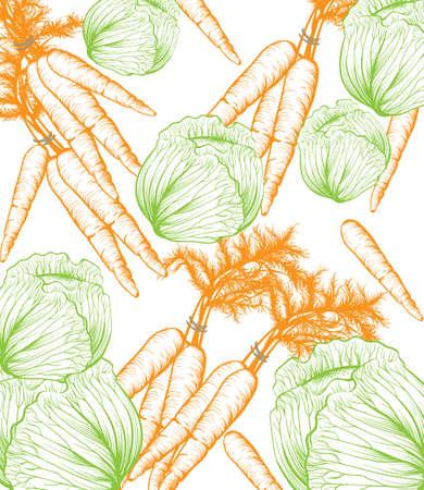 Pumpkin pattern background. Vector Line art hand drawn graphic style illustration