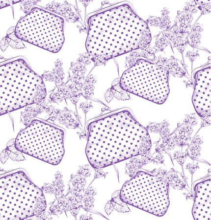 Vintage handbags and lavender flowers pattern and line art hand drawn background. Ilustração