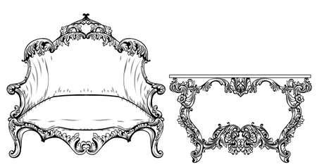 Vintage Baroque Rococo furniture.