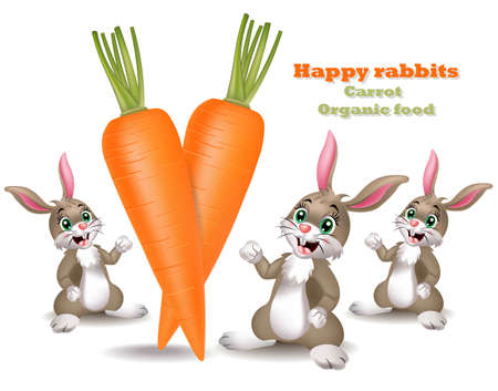 Carrots with happy rabbits background. Vector cartoon style illustration Illustration