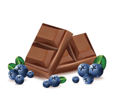 chocolate drops: Chocolate and blueberry realistic illustration.