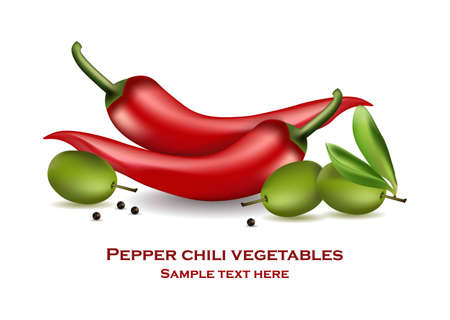 Chili pepper and olives Vector realistic isolated on white background