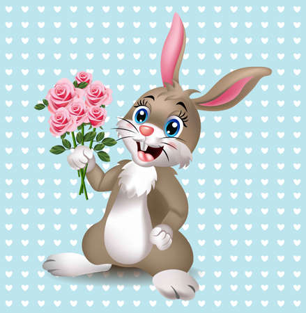 Cute rabbit holding tulips flowers Vector. Happy bunny with a bouquet