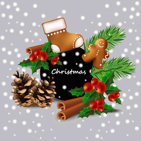 Christmas card with toys Vector. Happy celebration event with ginger bread cookies and fir tree branches