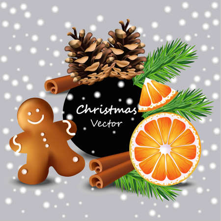 Christmas card with orange and cookies Vector. Winter time. Happy celebration event with ginger bread cookies and fir tree branche Illustration