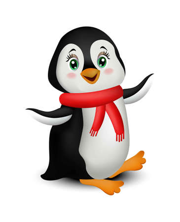 Happy Penguin cartoon Vector isolated on white