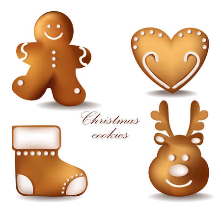 Christmas gingerbread cookies Vector set collection. Detailed decor