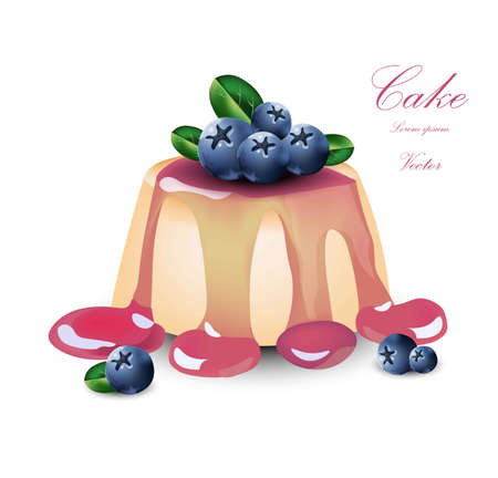 Panna cotta with blueberry syrop. Vector Cake dessert