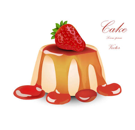 Panna cotta with strawberry syrop. Vector Cake dessert Illustration