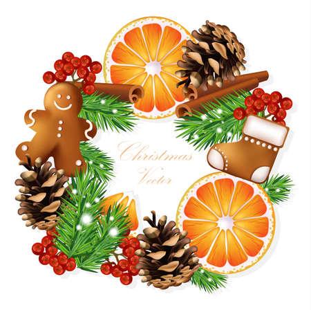 guirnaldas de navidad: Christmas wreath with gingerbread cookies and orange slices. Vector card illustration