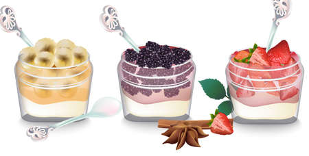 Sweet delicious breakfast dessert Vector. Yogurt parfait with fruits banana, berry and strawberry collection