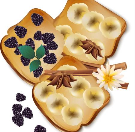 Fruit toast breakfast vector illustration. Illustration