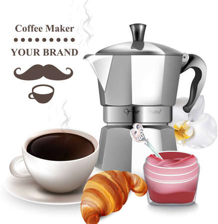 Coffee and croissant realistic vector illustration. Stock Vector - 87930934